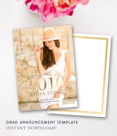 Senior Graduation Announcement, Graduation Announcement, Senior Graduation Announcement, PSD Template, Gold, INSTANT DOWNLOAD! by ByStephanieDesign on Etsy
