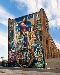 Eight storeys' high, Common Threads features characters based on antique figurines owned by the artist's grandmother, with students from two area high schools mirroring their poses. The mural, which was created in 1998, reflects the common threads that link us across cultures and across time. On a typical weekday, 5,800 people pass through the SEPTA stop at Broad & Spring Garden Streets, Philadelphia making this one of Mural Arts' most visible and iconic murals