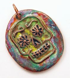 Sugar Skull Pendant  Handcrafted Copper Sugar by WildRavenStudio