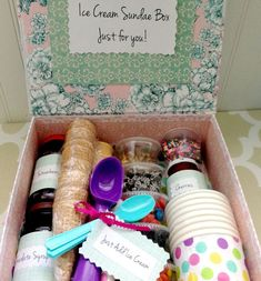 """DIY Ice Cream Sundae Gift Basket Looking for a great gift idea? Make an ice cream sundae gift box with all of the ingredients for an ice cream sundae. Add a little note that says """"Just add ice cream"""" and you have yourself a gift that everyone will enjoy. Birthday Box, Birthday Gifts, Happy Birthday, Homemade Gifts, Diy Gifts, Celebration Box, Surprise Gifts For Him, Diy Ice Cream, First Communion Gifts"""