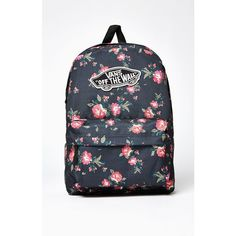 Vans Realm Floral Print School Backpack ($35) ❤ liked on Polyvore featuring bags, backpacks, flower print bags, day pack backpack, padded bag, knapsack bag and cotton bags
