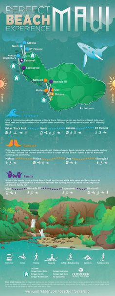 Maui beach infographic, Outrigger Hotels and Resorts...for our second trip to Maui we want to take sometime!!