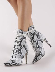Public Desire Spectrum Lace Up Ankle Boots in Black and White Snake Lace Up Ankle Boots, Heeled Boots, Bootie Boots, Shoe Boots, Pretty Shoes, Pretty Sandals, Me Too Shoes, Stiletto Heels, Fashion Shoes