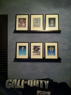 Dillions Gaming Themed Bedroom. For shelves and six framed photos I printed.