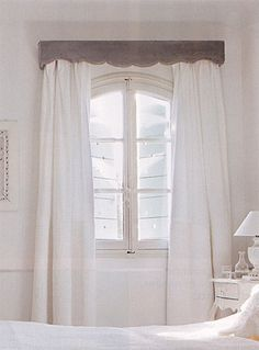 Gray Velvet Cornice draws attention away from the arched top of the French doors which you probably wouldn't want to follow anyway!