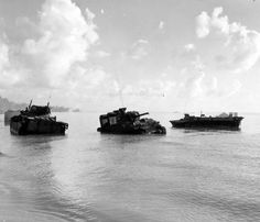 Marine M4 Tank and LVT Amtracs Knocked Out in Surf at Saipan 1944