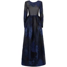 Malene Oddershede Bach Brier Textured Jacquard Maxi Dress (4.255 BRL) ❤ liked on Polyvore featuring dresses, gowns, blue, fitted maxi skirt, long-sleeve maxi dress, blue maxi dress, blue ball gown and long sleeve evening gowns