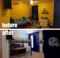 It's amazing what some fresh paint and Fathead decals can do to transform a bedroom!