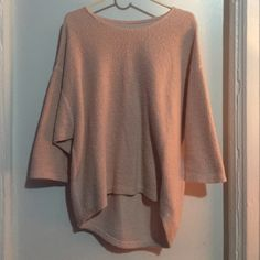 American apparel pink reversible easy sweater Blush pink, 3 quarter four sleeves American Apparel Sweaters
