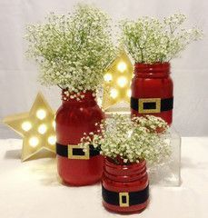 Santa Suit Mason Jar - christmas decor - christmas gifts - holiday centerpieces - stocking stuffers - santa gifts - March 10 2019 at Christmas Jars, Christmas Holidays, Christmas Wreaths, Office Christmas, Homemade Christmas, Christmas Parties, Christmas Music, Christmas Movies, Rustic Christmas