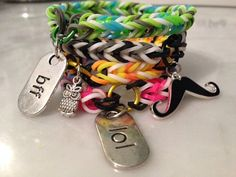 Rainbow Loom Bracelets with Charms Mustache BFF Owl LOL Fishtail Rubber Bands (All Money Towards Canadian Diabetes Association CDA) Bff Bracelets, Rainbow Loom Bracelets, Rainbow Cake Pops, Rubber Band Bracelet, Rubber Bands, Fishtail, Mustache, Crafts For Kids, Moustache