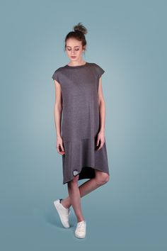 šaty midi tmavě šedé