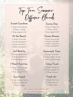 top 10 summer diffuser blends