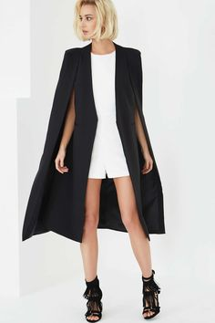 Photo 3 of **Black Collarless Cape Coat by Lavish Alice                                                                                                                                                     More                                                                                                                                                                                 More