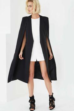 Photo 3 of **Black Collarless Cape Coat by Lavish Alice More