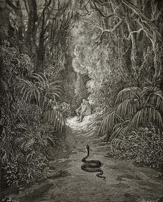 Gustave Dore - Satan As A Serpent, Enters Paradise In Search Of Eve (from Milton's