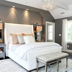 Love the gray and white in this master bedroom