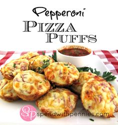 Pepperoni Pizza Puffs - Spend With Pennies 3/4 cup flour 1 teaspoon baking powder 3/4 cup milk 1 egg, lightly beaten 1 cup shredded cheese, (mozza or cheddar, I used a mix) 3/4 cup pepperoni, chopped 1/2 red pepper finely diced 1/2 teaspoon each basil & garlic powder 3/4 teaspoon oregano 1/2 cup store-bought pizza sauce