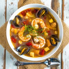 Cioppino...a hearty seafood stew with shrimp, scallops, salmon, and mussels in a rich tomato broth