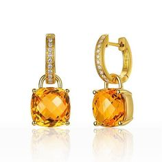 Sterling Silver Citrine /& White Topaz Round Leverback Boucles D/'oreilles