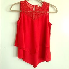 Red Crochet Chiffon Layered Tank Top Red Layered Tank top with crochet embellishment on top and chiffon layers on bottom. Cute for spring and summer. NWOT never worn. Got it from TJ Maxx and never wore. Considering all offers. Will not sell off Posh. Monteau Tops Tank Tops