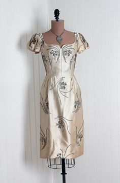 1940s Champagne Silk Satin Evening Dress with Silver Beads and Sequins