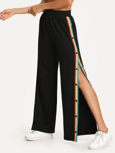the best attitude 8a243 33308 SheIn offers Contrast Tape Button Side Wide Leg Pants   more to fit your  fashionable needs.