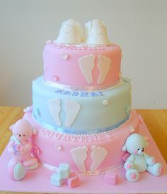 Christening cake with baby's footprints by deborah hwang Torta Baby Shower, Idee Baby Shower, Pretty Cakes, Cute Cakes, Beautiful Cakes, Amazing Cakes, Bolo Cake, Baby Girl Cakes, Baby Shower Cakes