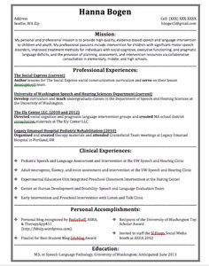 Speech Language Pathologist Resume Sample My Perfect