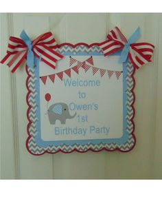 Elephant door banner birthday baby shower by ASweetCelebration 1st Birthday Decorations, 1st Birthday Parties, It's Your Birthday, Elephant Party, Elephant Birthday, Table Tents, Bottle Labels, Pink Blue, Banner