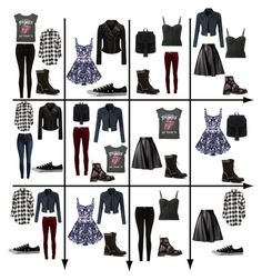 """""""15 Item Capsule Wardrobe (Rocker Chic Style)"""" by minimaliststylist on Polyvore featuring Current/Elliott, Forte Forte, Dr. Martens, Converse, MSGM, LE3NO, women's clothing, women's fashion, women and female"""