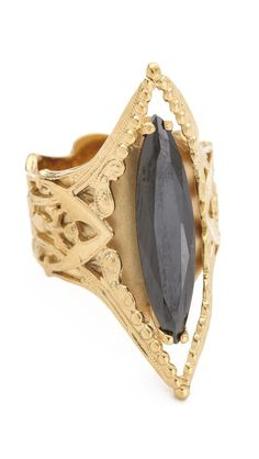 => IaM by Ileana Makri Naveta Ring |  Cheap Price  Faceted jet adds striking shine to this gold-vermeil ring, and an etched band completes the luxe aesthetic.Gold vermeil.Made in Greece.  Reasonable Price until you click to see price