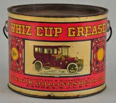 Whiz Cup Grease with Early Car Graphics Can