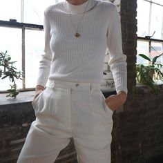 BOTH SOLD Vintage white cotton ribbed mock neck, best fits xs-s. $30 + shipping. | Vintage white Pendleton linen blend cropped trousers,…