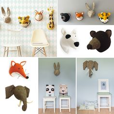 What an awesome eye catchers are these handmade animal heads made of felt! Boys Jungle Bedroom, Boys Bedroom Decor, Baby Room Decor, Nursery Decor, Baby Mobile Felt, Scandinavian Nursery, White Nursery, Toy Rooms, Room Inspiration
