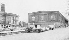 Kitchener Market in 1954, located behind City Hall. I remember going to market with my Mom here, as a little girl, and seeing all of the Mennonite farmers wagons backed up to the central cement walkway...