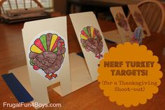 Use file folders to make pop-up turkey targets for Nerf guns.  This would be totally fun to do Thanksgiving week when the kids are out of school!