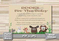 Baby Shower Bring a Book Instead of a Card - Invitation Insert Card Woodland - Insert Card - Invitation Insert Card - INSTANT DOWNLOAD by DigitalitemsShop on Etsy