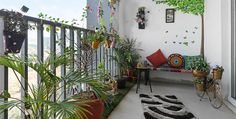 This Hyderabad apartment is a delicious blend of Indian heritage and contemporary design - dress you Indian Interior Design, Indian Home Design, Indian Home Decor, Indian Balcony Designs, Balcon Grill, Small Balcony Decor, Balcony Ideas, Balcony Garden, Balcony Plants