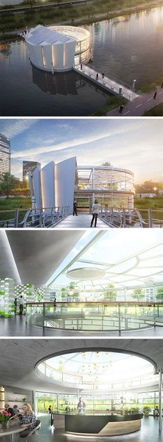 Called Lotus, this floating architecture is at once a space for growing veggies, dining, and socializing within urban environments. The structure utilizes a vertical design to house its various hydroponic and greenhouse stations. Inside and out, visitors and diners can enjoy waterside views and watch and learn more about there food growing as they dine.