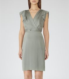 Womens Verte Drape-front Dress - Reiss Cora