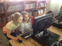 Alanna and Sienna- Two First Grade Students Helping the K-Kids with Technology- Real Keepers!