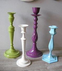 upcycled Refreshing Grouping of candle holders by MamaLisasCottage from MamaLisasCottage on Etsy. Saved to One of a kind upcycled home decor. Painted Candlesticks, Upcycled Home Decor, Repurposed, Old Candles, Arts And Crafts, Diy Crafts, My New Room, Fun Projects, Diy Art