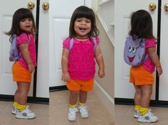 Simple and inexpensive Halloween Costume for Toddlers and Preschoolers DIY Dora Costume!