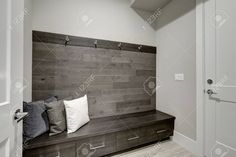 wood plank accent - Google Search Built In Storage, Locker Storage, Storage Area, Accent Wall Colors, Accent Walls In Living Room, Decor Inspiration, Decor Ideas, Plank Walls, Wood Walls
