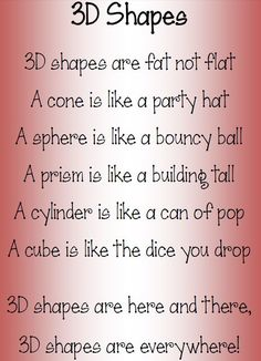 Let's wax lyrical about 3D shapes!: