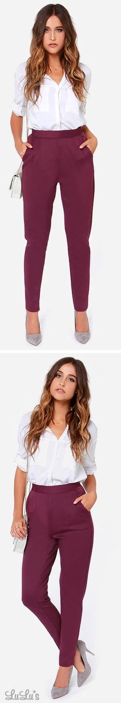 Fantastic Phantom Burgundy High Waisted Pants