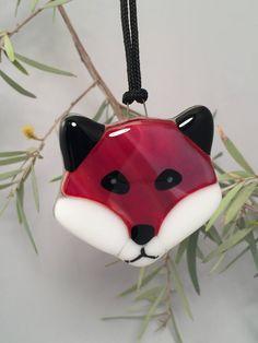 Fused Glass Fox Ornament 04010