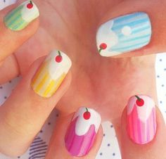 14 Awesome Cupcake Nail Art Designs for Girls - 101 NailDesign Funky Nails, Love Nails, How To Do Nails, Pretty Nails, Cupcake Nail Art, Ice Cream Nails, Manicure Y Pedicure, Cute Nail Art, Fabulous Nails