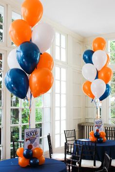 Basketball Balloon Centerpiece Orange, Navy & White Balloon Centerpiece with Custom Logo Sign & Balloon Base Orange Party, Orange Birthday Parties, Nerf Birthday Party, Nerf Party, Birthday Balloons, Basketball Baby Shower, Uva Basketball, Orange Balloons, Ideas Party
